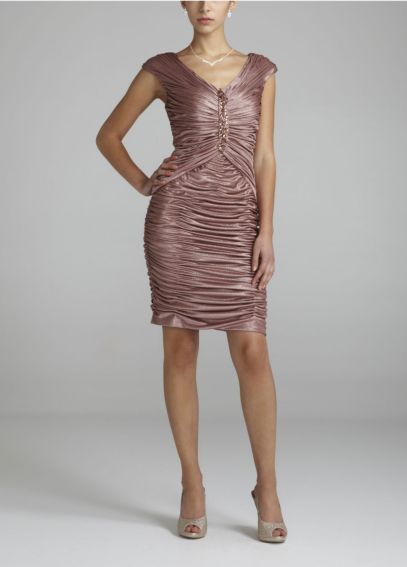 Sleeveless All Over Satin Ruched Dress  231M23850