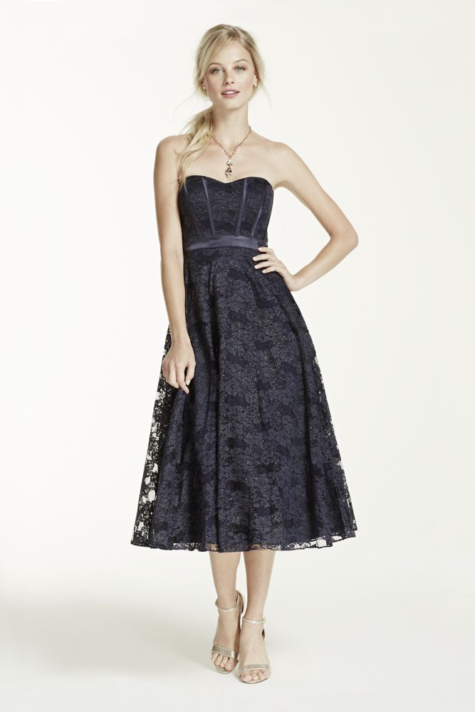 David's Bridal Strapless Tea Length Glitter Lace Dress