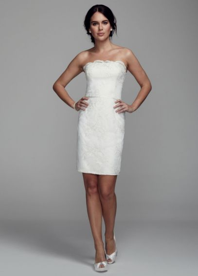 Strapless Short Dress with Lace Appliques 231M52870