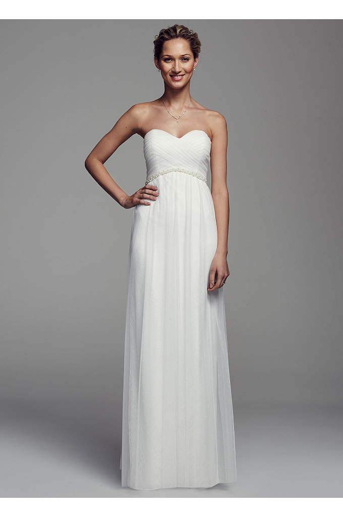 Strapless Lace Dress with Tulle Overlay