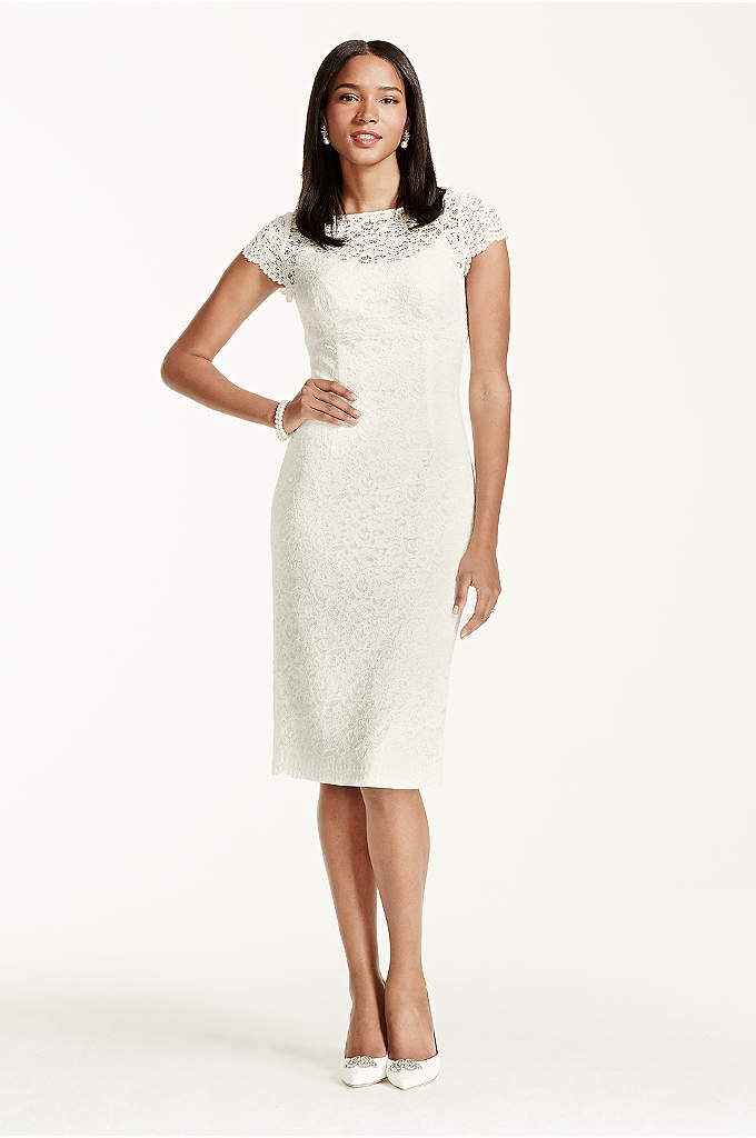 Short Sleeve Lace Knee Length Dress