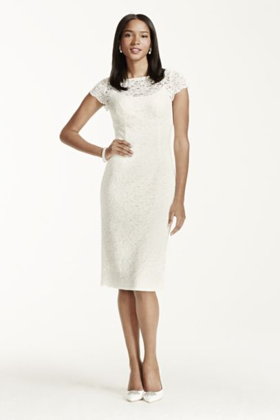 Short Sleeve Lace Knee Length Dress - Davids Bridal