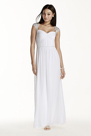 Beaded Cap Sleeve Chiffon A-line Dress