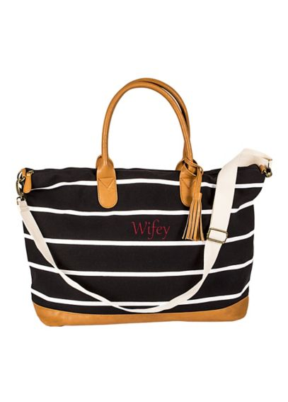 Personalized Striped Canvas Weekender Bag  2324