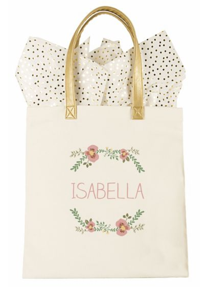 Personalized Floral Canvas Tote Bag - Wedding Gifts & Decorations