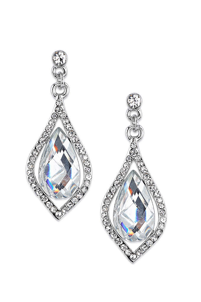 Caged Crystal Teardrop Earrings - So dazzling! These beautiful earrings feature faceted pear-shaped