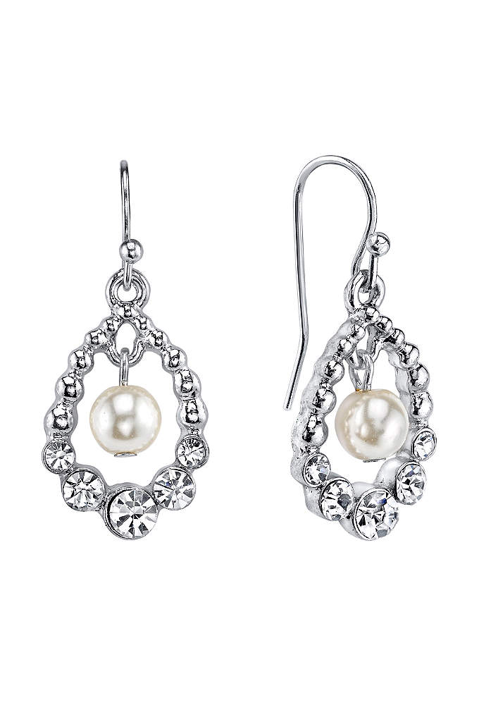 Czech Crystal and Suspended Pearl Drop Earrings - Luminous simulated pearls sway in the center of
