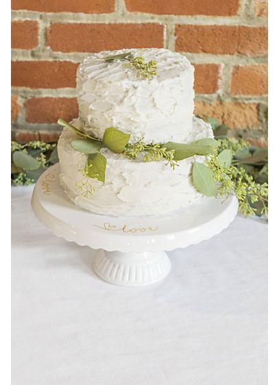 White (Scalloped Ceramic Love Cake Stand)