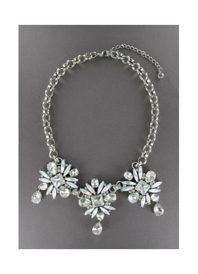 Frosted Floral Crystal Necklace - Wedding Accessories