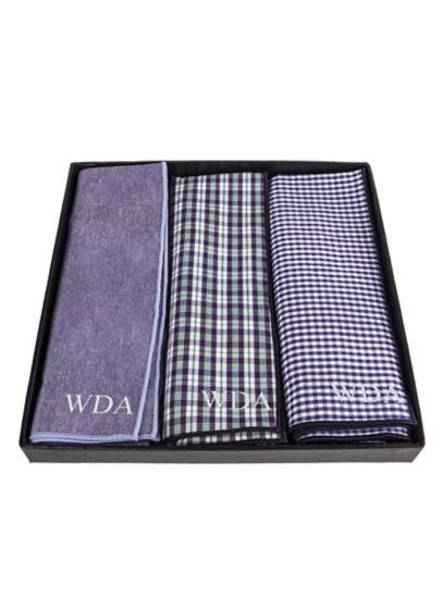 Personalized Gingham Handkerchief Set of 3 - Wedding Gifts & Decorations