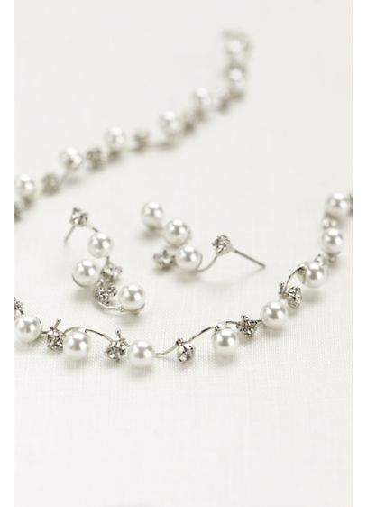 Pearl and Crystal Wave Necklace and Earring Set - Wedding Accessories