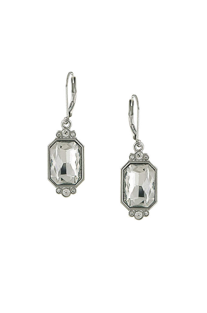 Crystal Octagon Drop Earrings - This pair of octagon-shaped crystal earrings exudes timeless