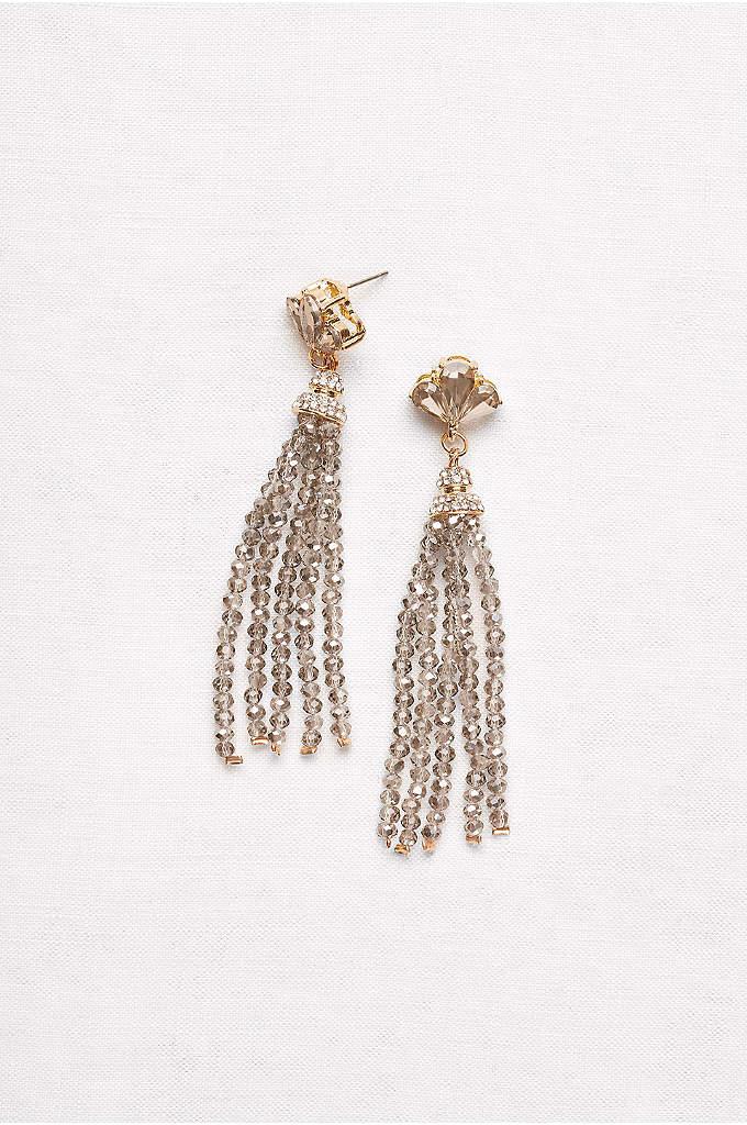 Fanned Crystal Tassel Earrings - Fan-shaped stone posts flicker above faceted stone tassels.