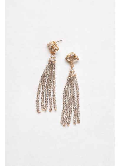 Fanned Crystal Tassel Earrings - Wedding Accessories