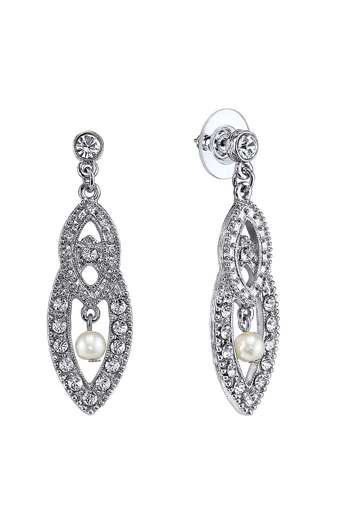 Czech Crystal and Pearl Art Deco Drop Earrings - The Art Deco styling of these crystal filigree