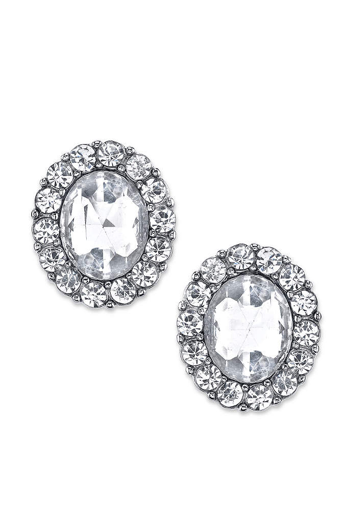 Crystal Oval Button Earrings - For a look that shines, try these oval