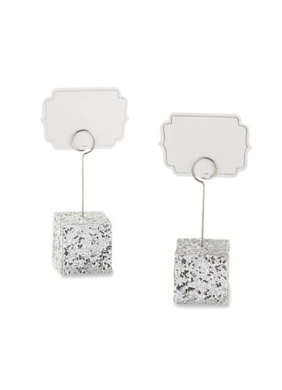 Silver Glitter Place Card Holders Set of 6 - Wedding Gifts & Decorations