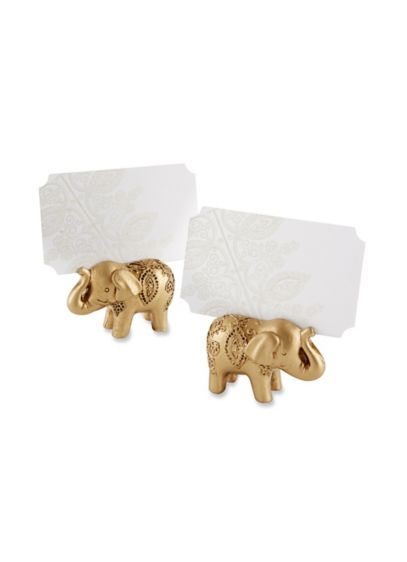 Lucky Golden Elephant Place Card Holders Set of 6 - Wedding Gifts & Decorations