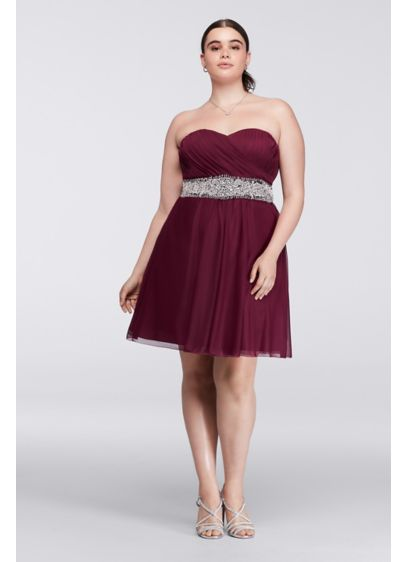 Short A-Line Strapless Prom Dress - My Michelle