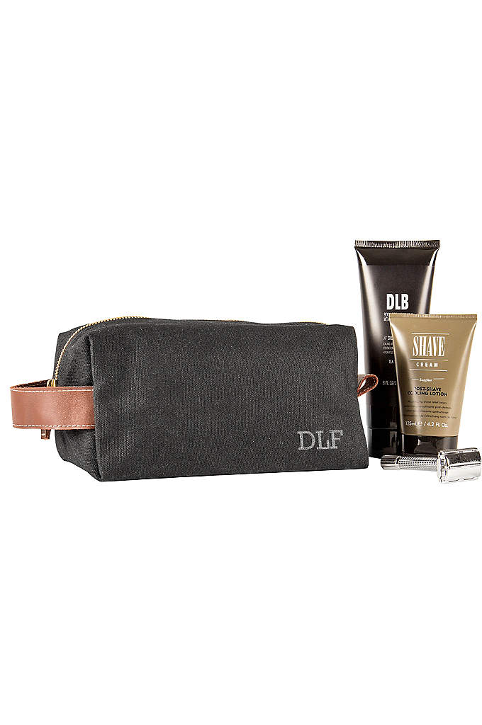 Personalized Waxed Canvas and Leather Dopp Kit - An ideal travel companion for the men on