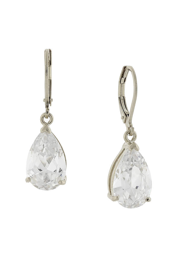 Cubic Zirconia Teardrop Leverback Earrings - These lovely teardrop-shaped cubic zirconia earrings work with