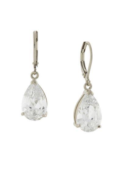 Cubic Zirconia Teardrop Leverback Earrings - Wedding Accessories