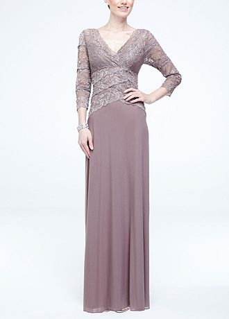 3/4 Sleeve Lace and Mesh Long Dress