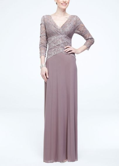 3/4 Sleeve Lace and Mesh Long Dress 260102D