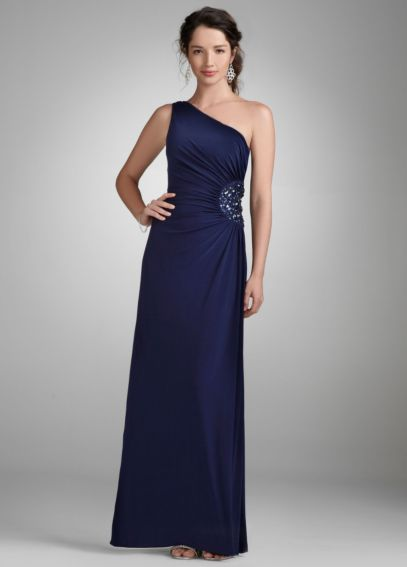 One Shoulder Evening Gown with Beaded Detail 260160D