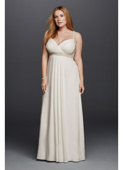 Spaghetti strap plus size wedding dress davids bridal long sheath beach wedding dress db studio junglespirit Gallery