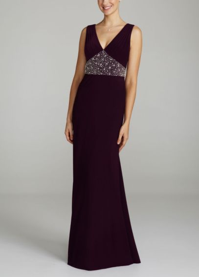 Sleeveless Long Jersey Dress with Beaded Waist 260317D