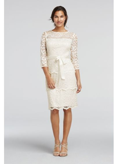 Short 3/4 Sleeve Tiered Floral Lace Dress 261196