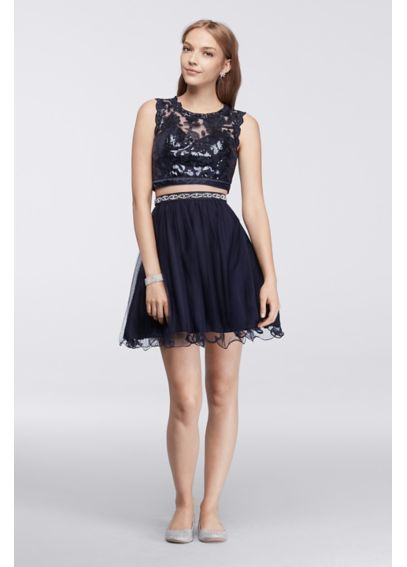 Homecoming Sequin Crop Top with Tulle Skirt 2611MU8P