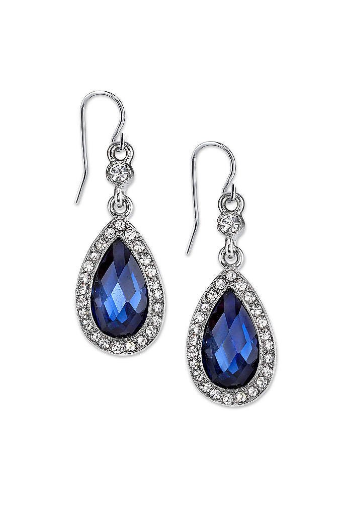 Blue Crystal Halo Teardrop Earrings - Add a vibrant pop of color to your