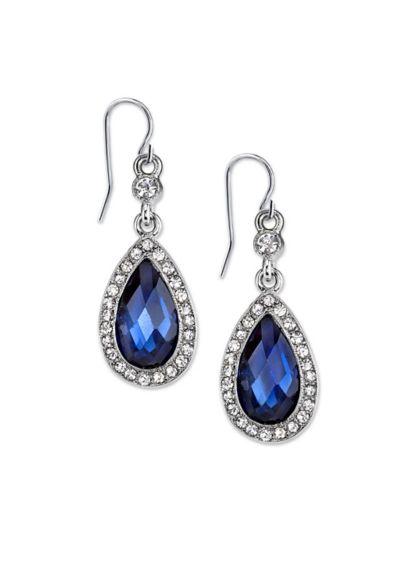Blue Crystal Halo Teardrop Earrings - Wedding Accessories