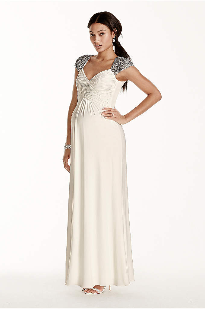Beaded Cap Sleeve Long Jersey Maternity Dress - This stunning, empire-waist maternity wedding dress defines style
