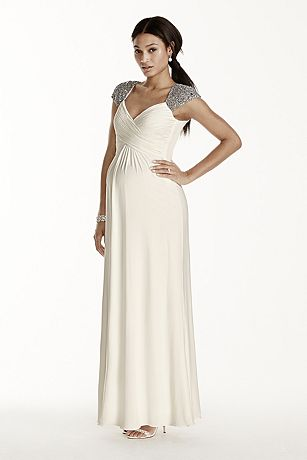 Beaded Cap Sleeve Long Jersey Maternity Dress