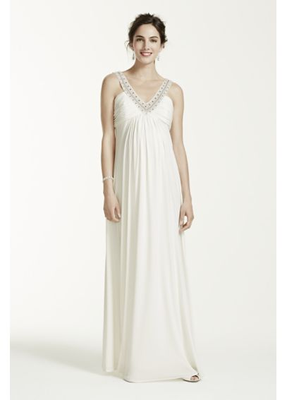 Long Ruched Maternity  Dress with Beaded Neckline 262092D