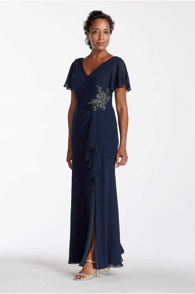 Long Chiffon Dress with Flutter Sleeves - Make an unforgettable statement in this elegant Mother