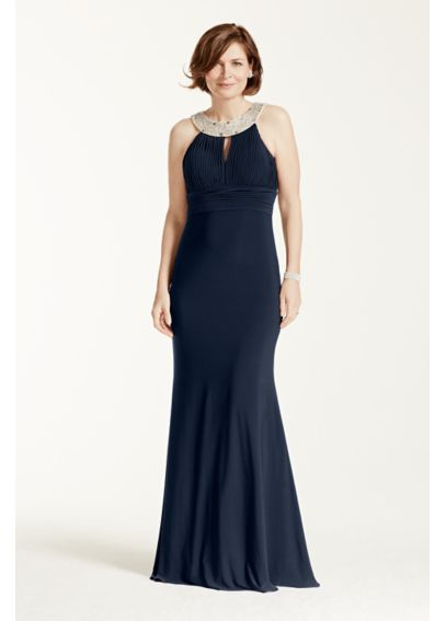 Sleeveless Long Jersey Dress with Jeweled Neckline 262702D