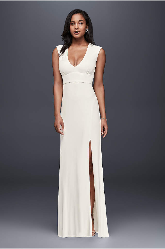 Plunging Neckline Jersey Sheath Dress - Plunging at the neckline, open at the back,