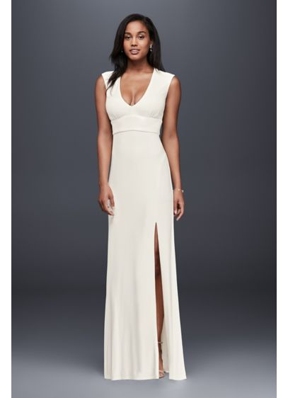 Long Sheath Simple Wedding Dress - Jump