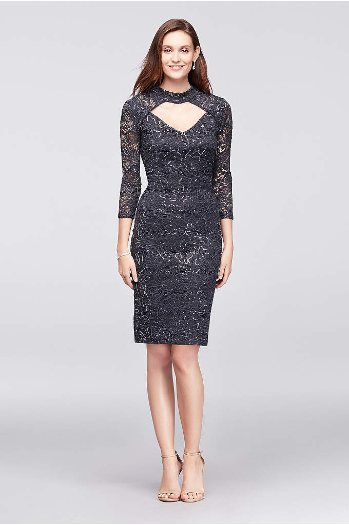 Sequin Lace 3/4-Sleeve Cocktail Dress with Keyhole - A high-neck style with an alluring peekaboo keyhole