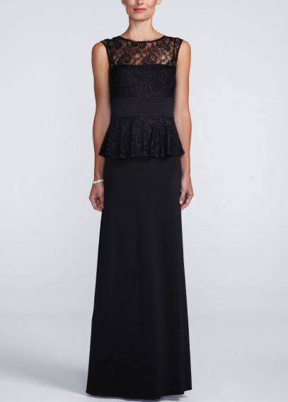 Long Jersey Peplum Dress with Beaded Lace 263937D