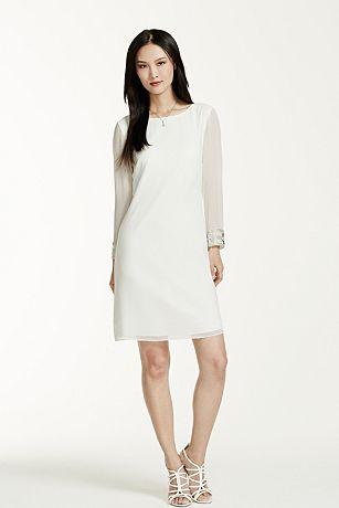 Sheer 3/4 Sleeve Beaded Cuff Short Dress