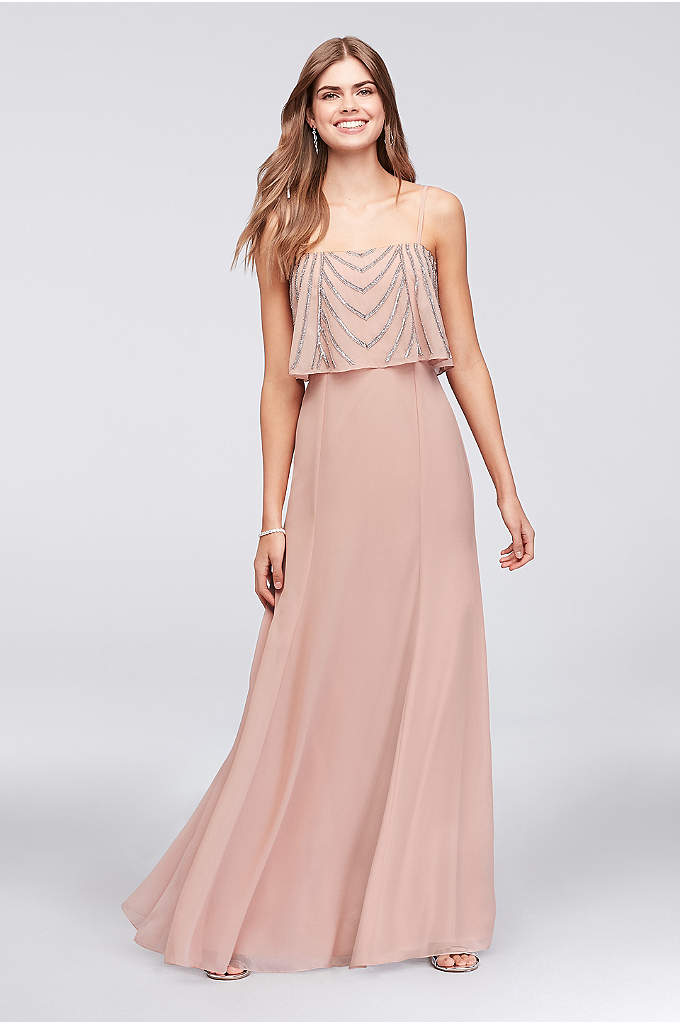 Chiffon Gown With Drapey Sequined Bodice - Simple and elegant with a bit of glitz,