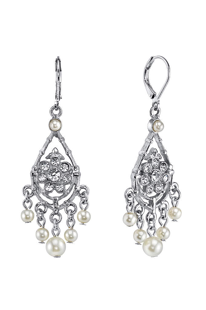 Czech Crystal and Pearl Chandelier Earrings - For the vintage-inspired bride, delicate crystal flower and