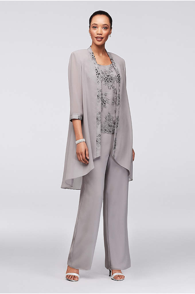 Embroidered Chiffon Pantsuit with High-Low Jacket - Three-piece ensembles are the stylish-yet-comfortable choice that every