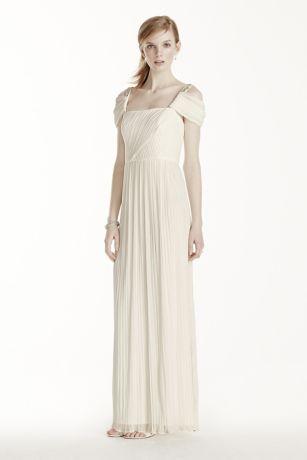Beaded Drop Shoulder Pleated Long Jersey Dress   David\'s Bridal