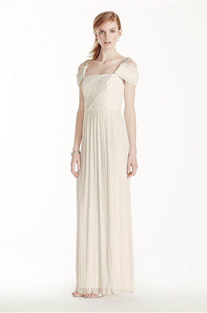 Beaded Drop Shoulder Pleated Long Jersey Dress - Channel your inner goddess on your special day